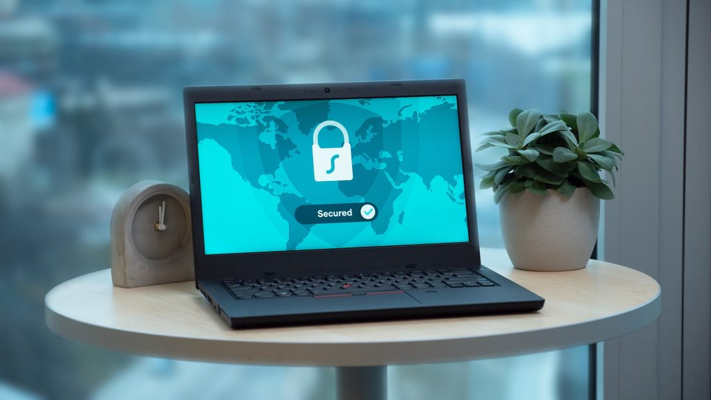 lap top with a vpn service protection